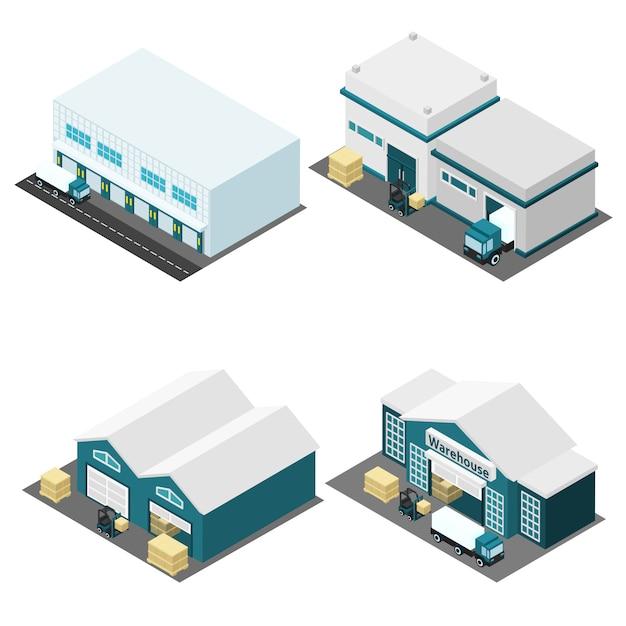 Warehouse isometric icons set Free Vector