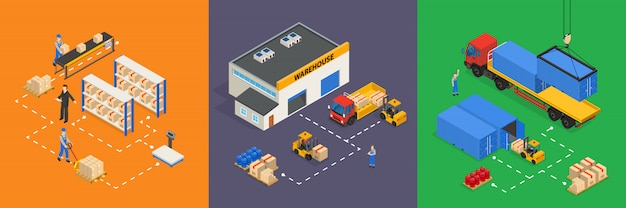 Warehouse isometric illustrations Free Vector