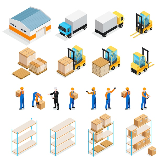 Warehouse isometric set Free Vector