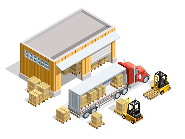 Warehouse isometric template Free Vector