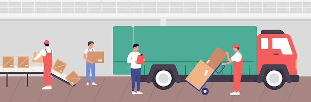 Warehouse loading process  illustration. cartoon  worker people packaging goods into boxes for transportation by truck in storehouse stock room interior of warehousing company background Premium Vector