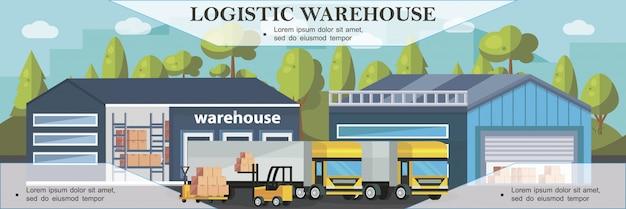 フラットスタイルでロードするトラックのプロセスと倉庫物流カラフルなバナー 無料ベクター