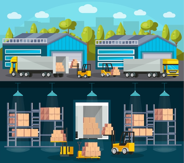 Composizioni nella logistica di magazzino Vettore gratuito
