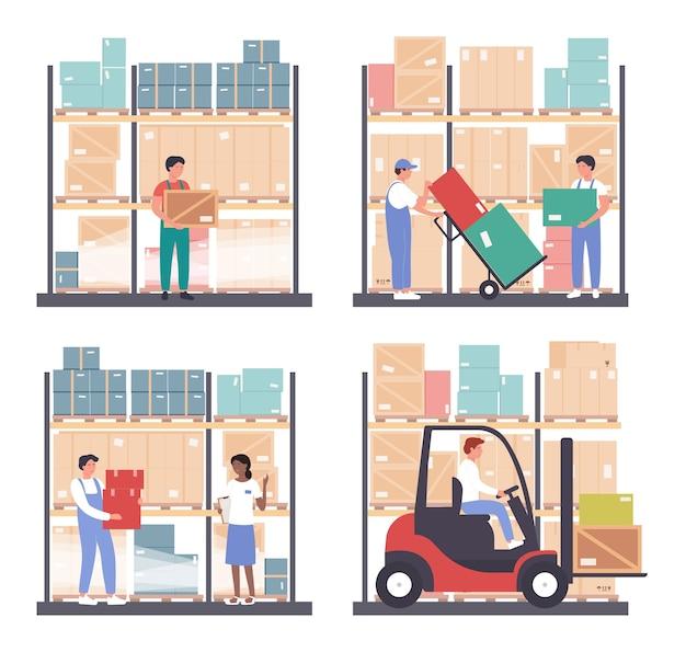 倉庫物流イラストセット。漫画の労働者の人々は倉庫の卸売倉庫で働く、箱、輸送、白の在庫フォークリフトローダーでパッケージを読み込む Premiumベクター