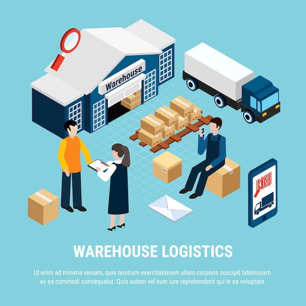 Warehouse logistics isometric with delivery workers on blue 3d illustration Free Vector