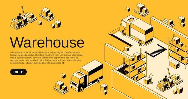 Warehouse logistics and shipment illustration in isometric black thin line art Free Vector