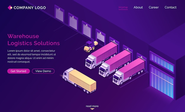 Warehouse logistics solutions isometric landing Free Vector