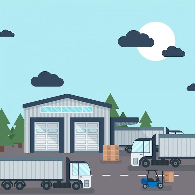 工業製品の輸送と保管、イラストの外の倉庫。配達用段ボール箱を扱うフォークリフト Premiumベクター