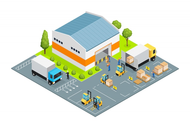 Warehouse outside view isometric Free Vector