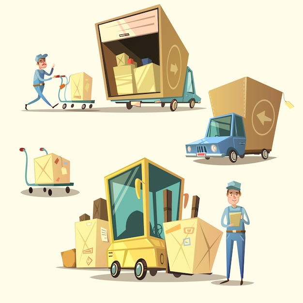 Warehouse retro cartoon set Free Vector