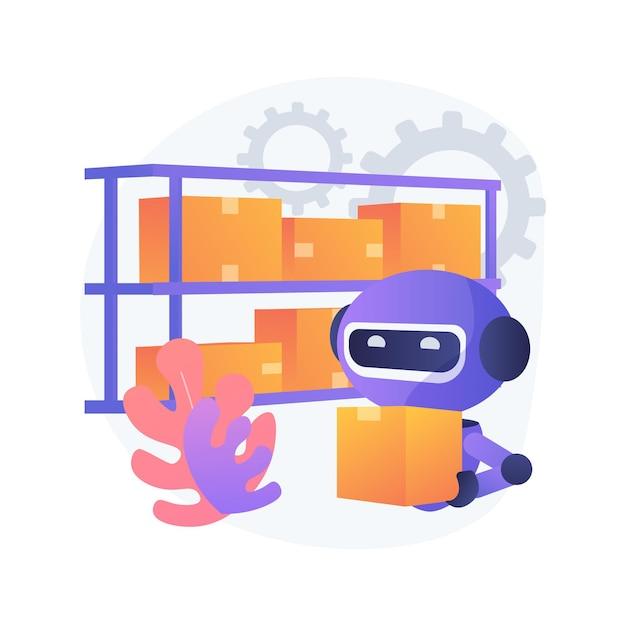 倉庫のロボット化の抽象的な概念図 無料ベクター