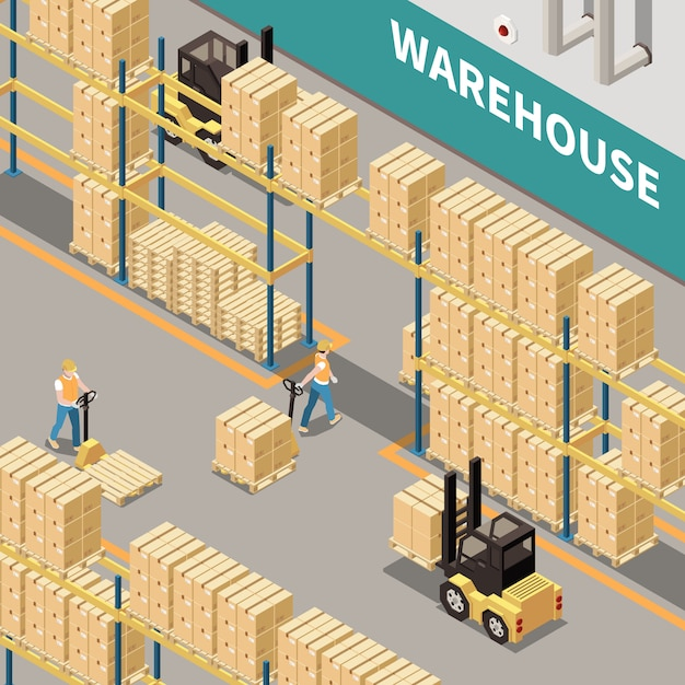 段ボール箱のフォークリフトと2人の労働者3 d等尺性分離ベクトル図と倉庫の棚 無料ベクター
