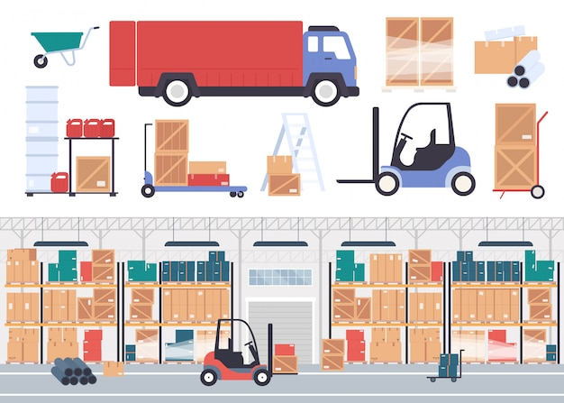 Warehouse stockroom illustration. cartoon flat warehousing company storehouse interior with boxes of store goods on pallet shelves, packaging stock inventory and courier truck isolated on white Premium Vector
