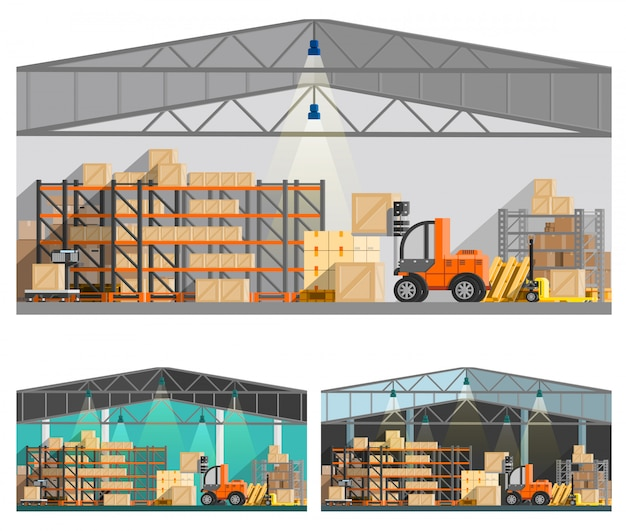 Warehouse and storage compositions set Free Vector