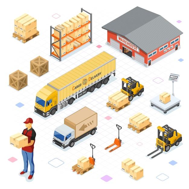 Склад, хранение, логистика и доставка изометрические иконки со складом, весами, грузовиком, вилочным погрузчиком, курьером. изолированные Premium векторы