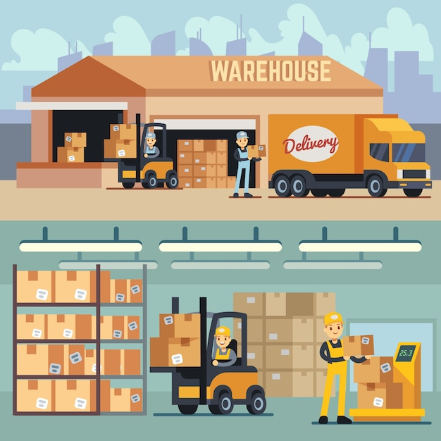 Warehouse storage and shipping logistics vector concept. storage and transportation cargo, delivery and shipping illustration Premium Vector
