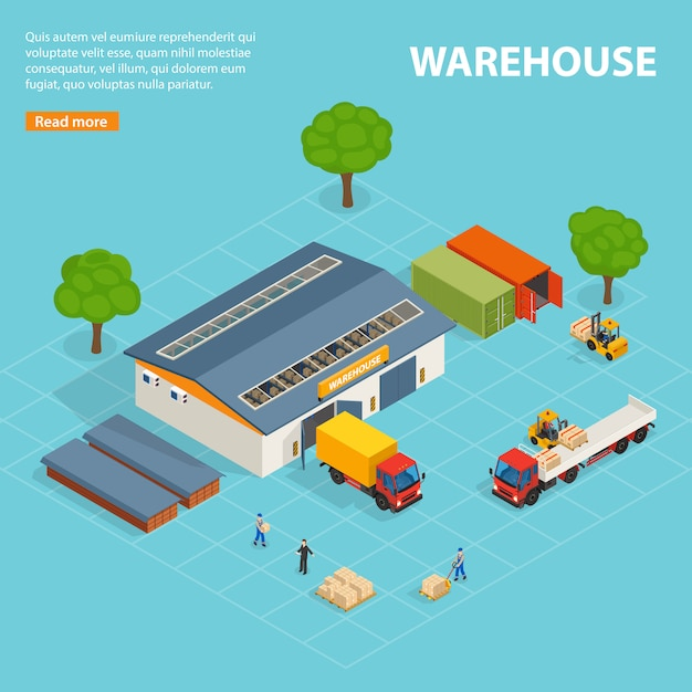 Warehouse top view isometric design composition Free Vector