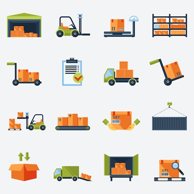 Warehouse transportation and delivery icons flat set isolated vector illustration Free Vector