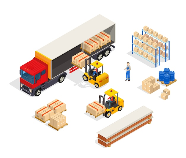 Warehouse vehicular loading composition Free Vector
