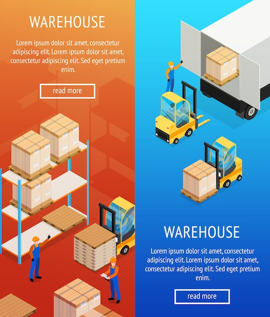 Warehouse vertical isometric banners Free Vector