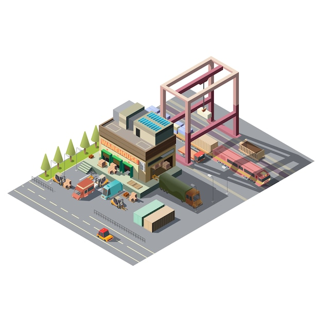 Warehouse with cargo cars Free Vector