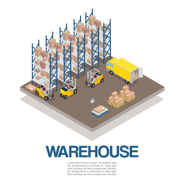 Warehouse with forklifts and truck isometric Premium Vector