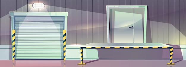 Warehouse with roller shutter entrance door and unloading dock platform. vector illustration of stor Free Vector