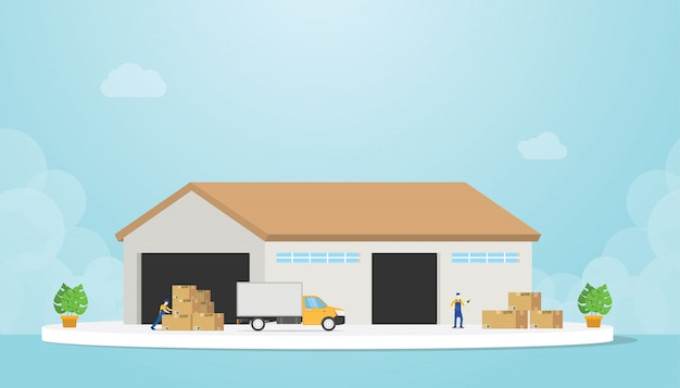 Warehouse with truck and goods stack and warehouses employee with modern flat style - vector Premium Vector