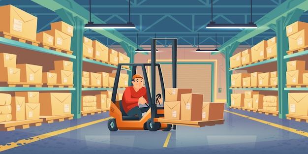 Warehouse with worker, forklift and boxes Free Vector