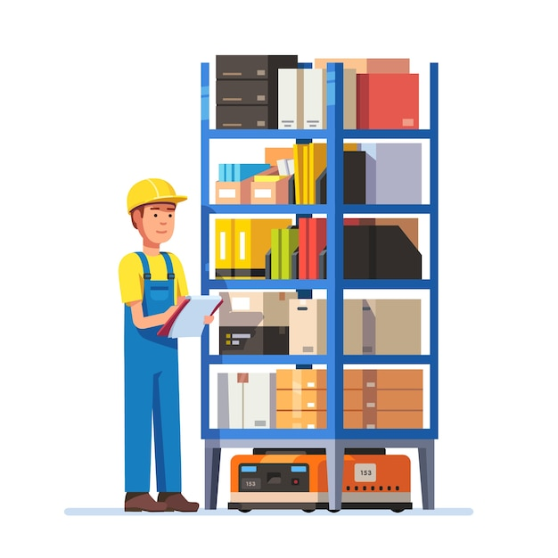 Warehouse worker checking inventory Free Vector