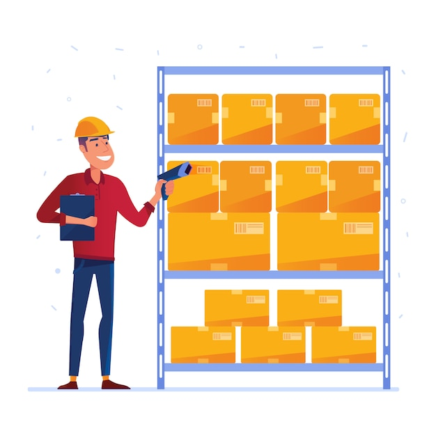 Warehouse worker is checking the boxes with qr code scanner Premium Vector