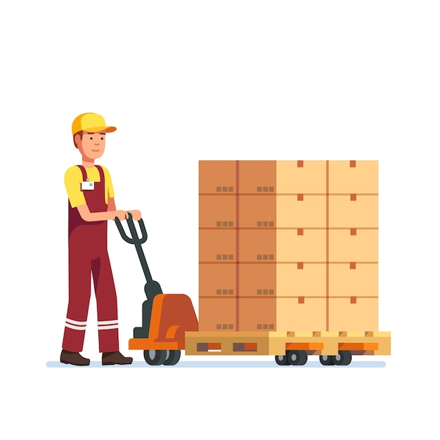 Warehouse worker man towing hand fork lifter Free Vector