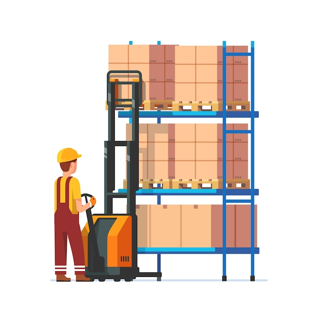 Warehouse worker operating electric fork lifter Free Vector