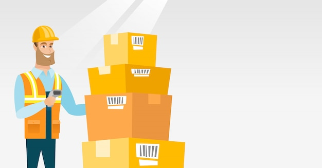 Warehouse worker scanning barcode on box. Premium Vector