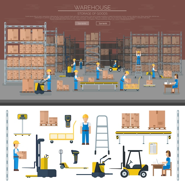 Warehouse worker taking package in shelf logistic industry flat Premium Vector
