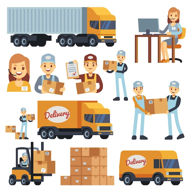 Warehouse workers cartoon vector characters - loader, delivery man, courier and operator. warehouse delivery business illustration Premium Vector