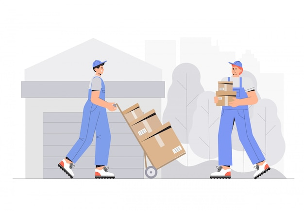 Warehouse workers characters unloading boxes. flat style vector illustration. Premium Vector