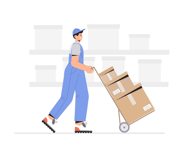 Warehouse workers characters unloading boxes. Premium Vector