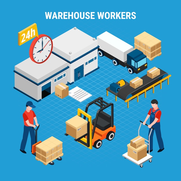 Warehouse workers loading and delivering boxes 3d isometric illustration Free Vector
