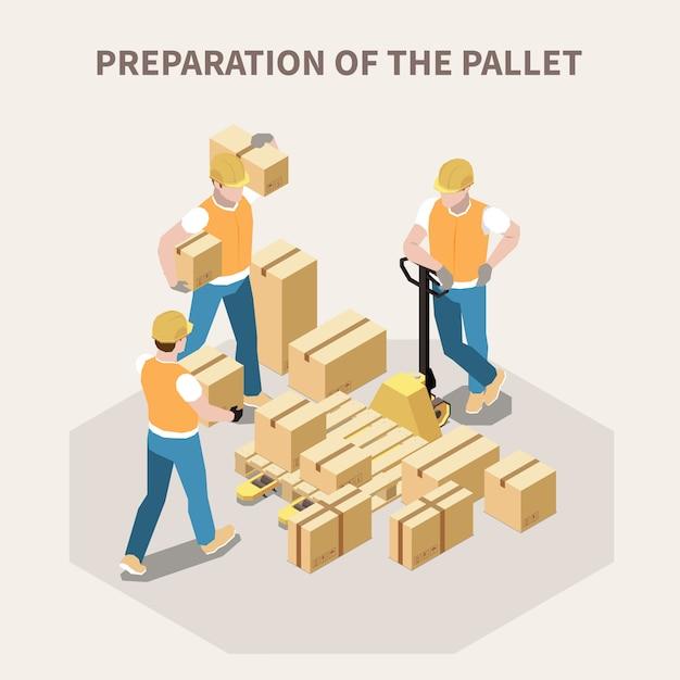 木製パレット3 d等角投影図のベクトル図に段ボール箱を入れて倉庫作業員 無料ベクター
