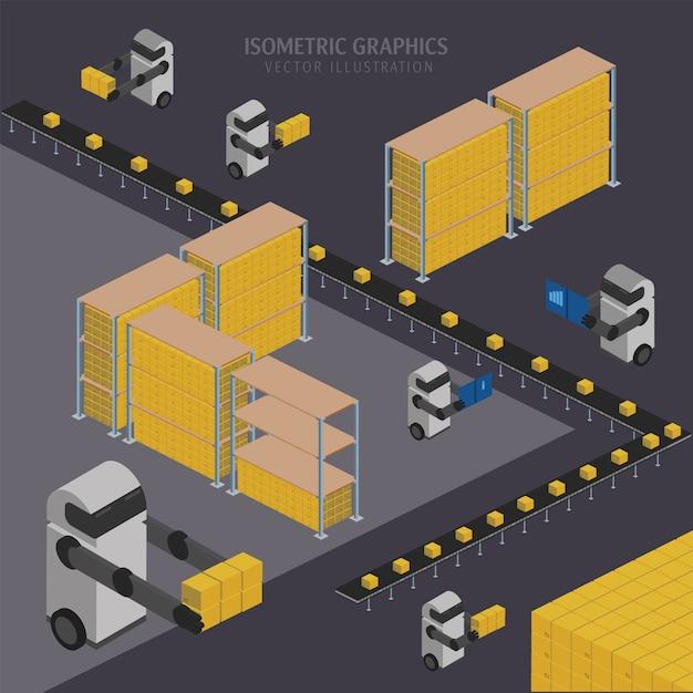 Warehousing chain illustration Premium Vector