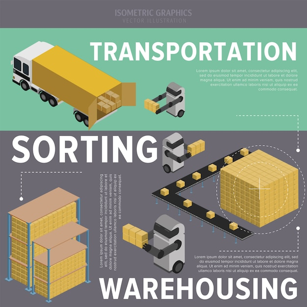 Warehousing process illustration Premium Vector