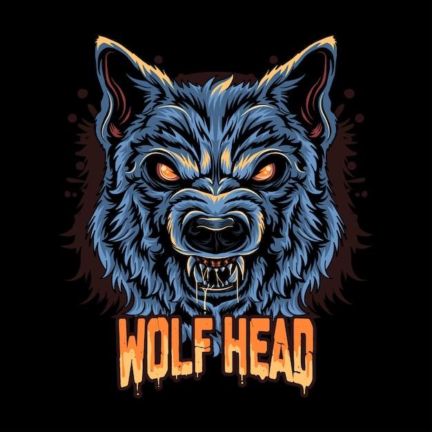 Warewolf head angry face artwork Premium векторы