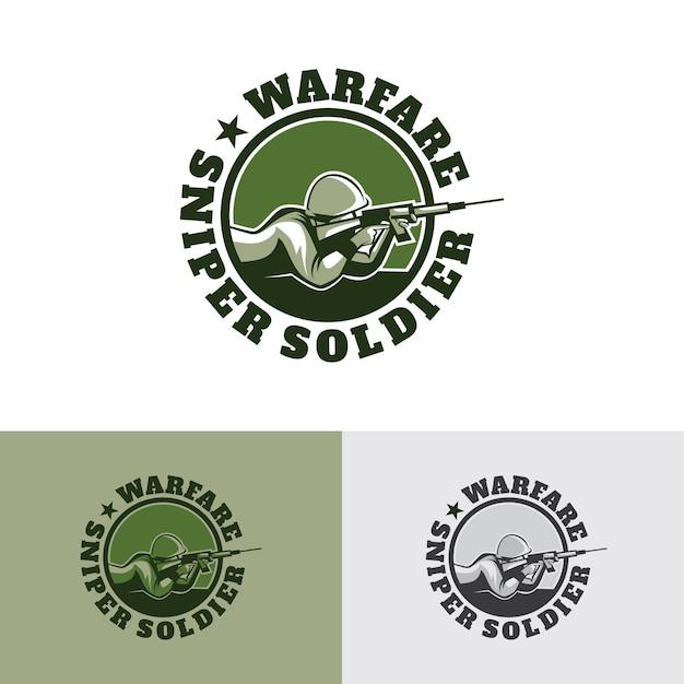 戦争狙撃兵のロゴのテンプレートデザイン Premiumベクター