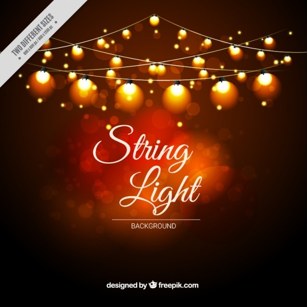 String Lights Bokeh : Warm bokeh background with decorative string lights Vector Free Download