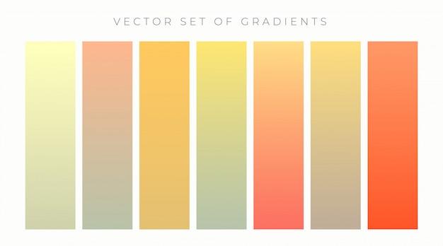 暖かい色鮮やかなグラデーションセットベクトル図 無料ベクター