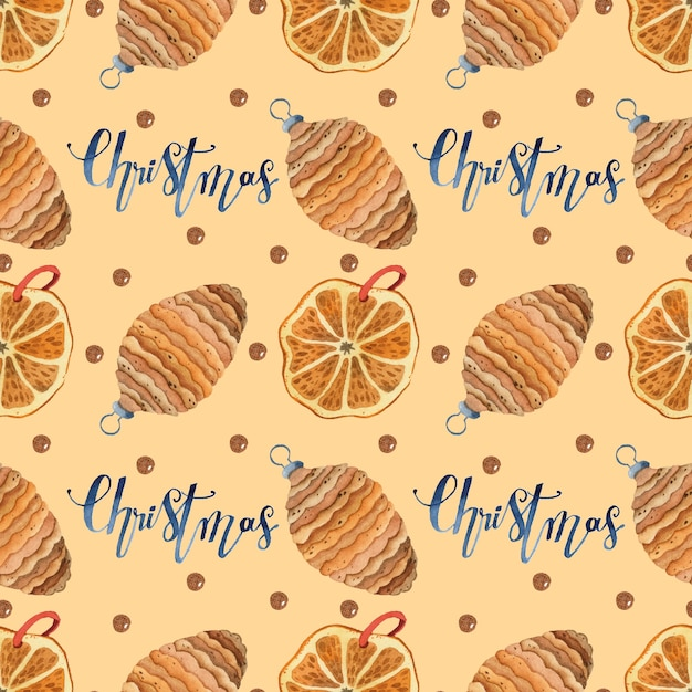 Warm cozy christmas seamless pattern watercolor wrapping paper Premium Vector