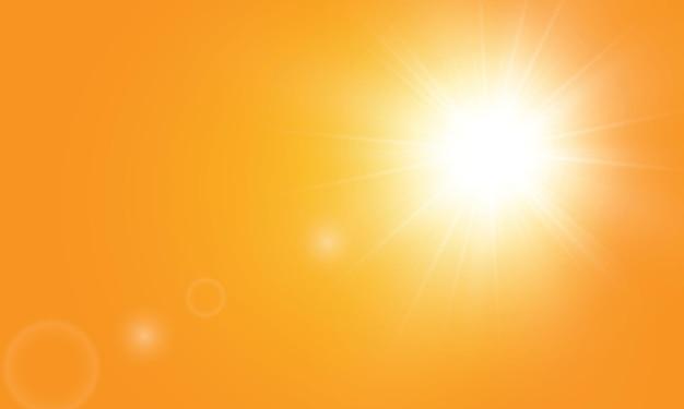 Теплое солнце на желтом фоне. лето.блики солнечных лучей. оранжевый желтый фон. Premium векторы