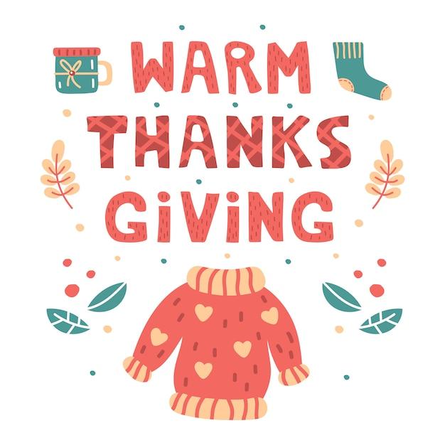 暖かい感謝祭手描きのレタリング、イラスト。フラットカードを印刷します。セーター、靴下、ティーカップ、葉の漫画スタイルのイラスト。感謝祭の日。 Premiumベクター