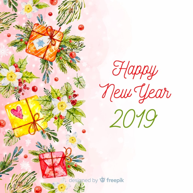 Warm tones watercolor new year background Free Vector